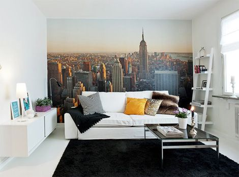 huge cityscape image mounted on the wall. you could anchor the evening news from this room.
