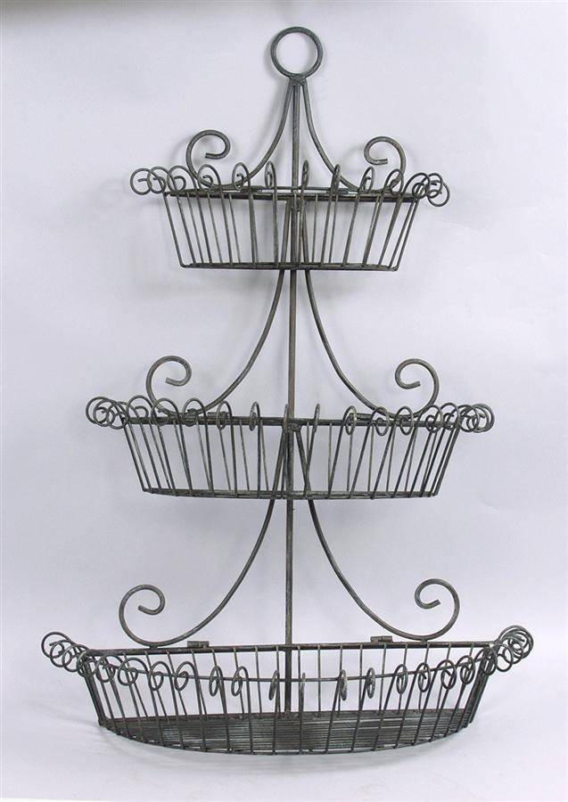3 Tier Scrolled Wire Wall Mount Basket In Black Finish