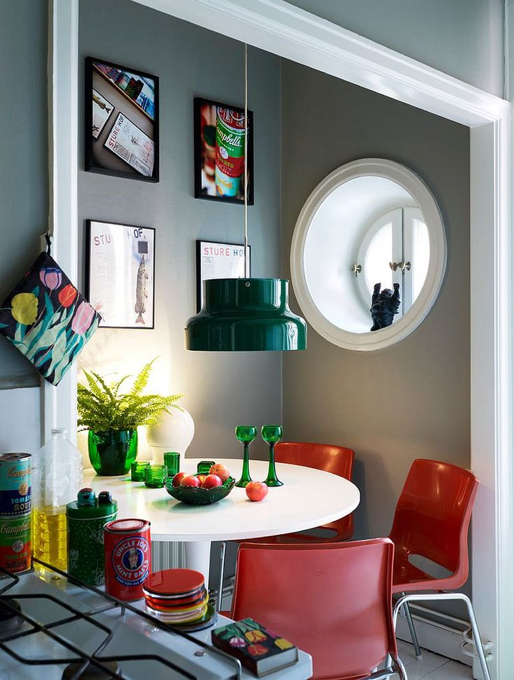 Cheerful Small Dining Space With Green Light And Red Chairs Eclectic RoomsSmall