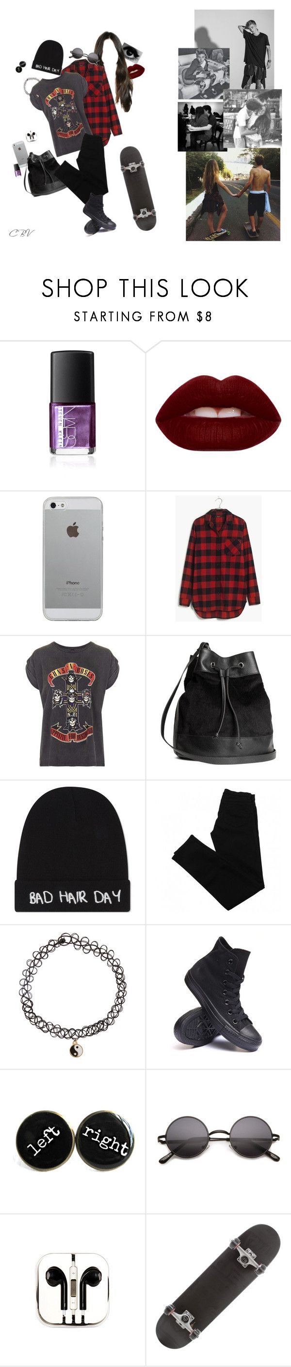 """day with johnson"" by crazybyvans ❤ liked on Polyvore featuring NARS Cosmetics, Lime Crime, Luvvitt, Madewell, And Finally, H&M, Local Heroes, J Brand, Accessorize and Converse"