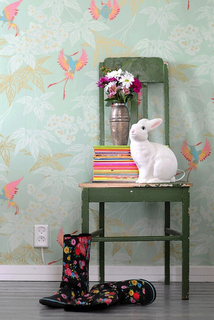 Tropical bird wallpaper.Vignettes, Rabbit, Decor, Birds Wallpapers, Interiors Style, Girls Room, Vintage Birds, Pretty Birds, Painting Chairs