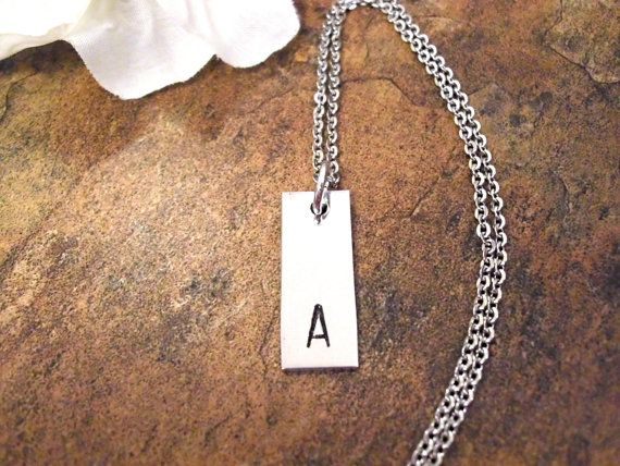 Initial Necklace Initial Jewelry Rectangle Bar by CharmAccents