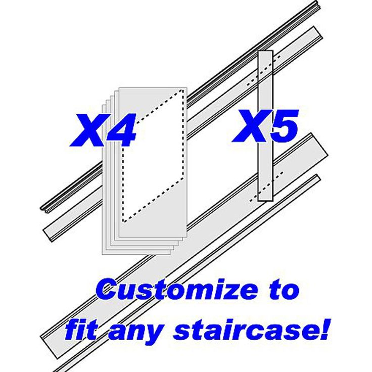 """96""""L, Adjustable Height Flat Panel Stair Wainscoting Kit"""