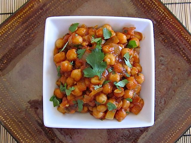 quick curried chick peas