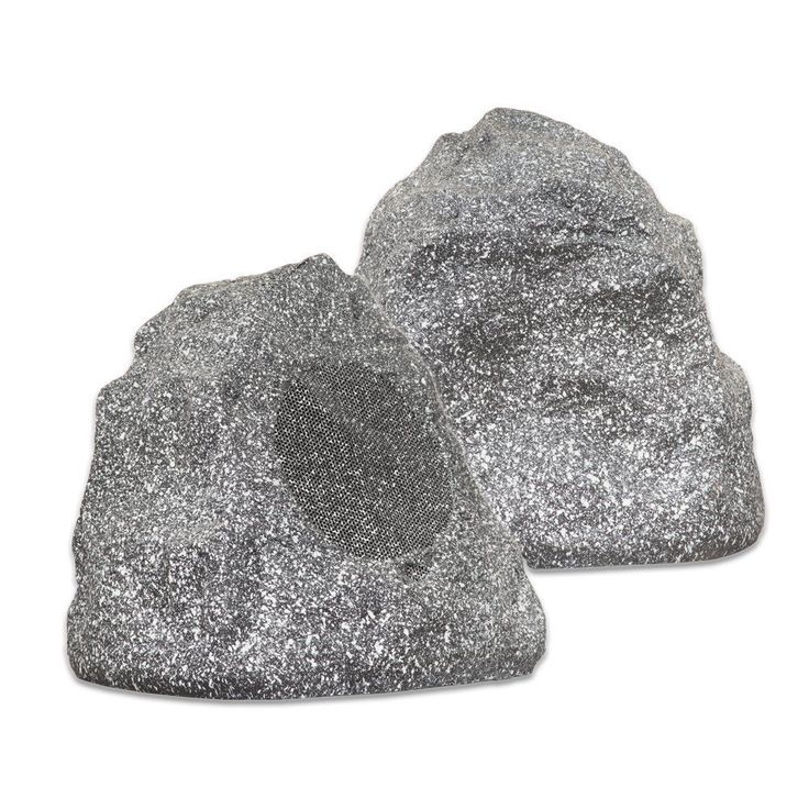 Outdoor Rock Speakers (Granite Grey) Waterproof Garden Patio Sub Yard Lawn Decor #TheaterSolutions
