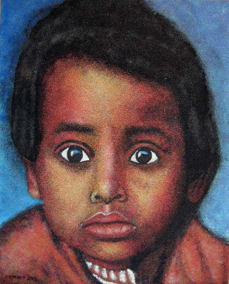 Regard d'enfant - sable coloré sur bois - sand painting – 40 x 50 cm – 2005  http://www.david-cadran.com/wp-content/uploads/2014/10/Regard-denfant.jpg