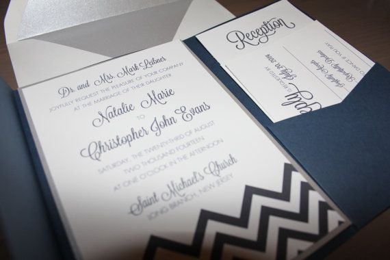 Navy Blue POCKET CHEVRON Wedding Invitations - Chevron Invites - Invitation, Reception, & RSVP
