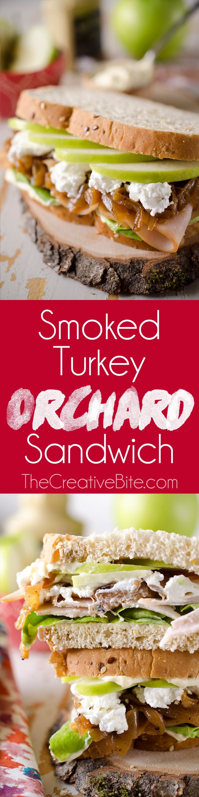 This Smoked Turkey Orchard Sandwich is a wholesome and easy 5 minute lunch recipe made with multi-grain bread, caramelized onions, goat cheese, crisp green apples and Smoked Deli Turkey.  http://www.thecreativebite.com/smoked-turkey-orchard-sandwich/?utm_campaign=coschedule&utm_source=pinterest&utm_medium=Danielle%20%7C%20The%20Creative%20Bite&utm_content=Smoked%20Turkey%20Orchard%20Sandwich