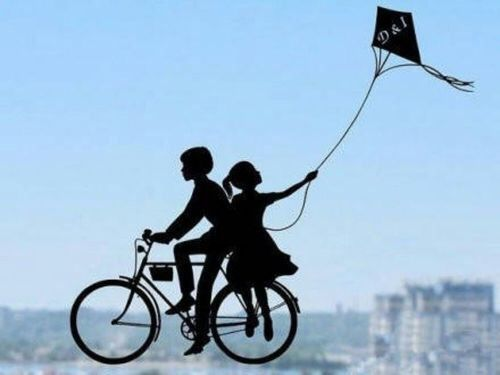 Silhouette Of A Boy Amp Girl On A Bicycle Flying A Kite Art