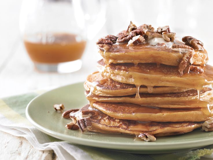 Sweet Potato Pancakes with Pecans and Brown Sugar Sauce. food breakfast pancakes