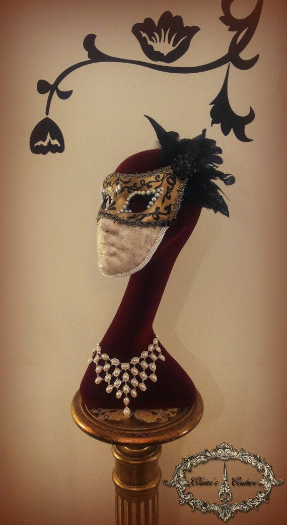 Golden and black Venetian Mask -Musical Columbine- For Masquerade Ball, Prom, Costume Party, Wedding