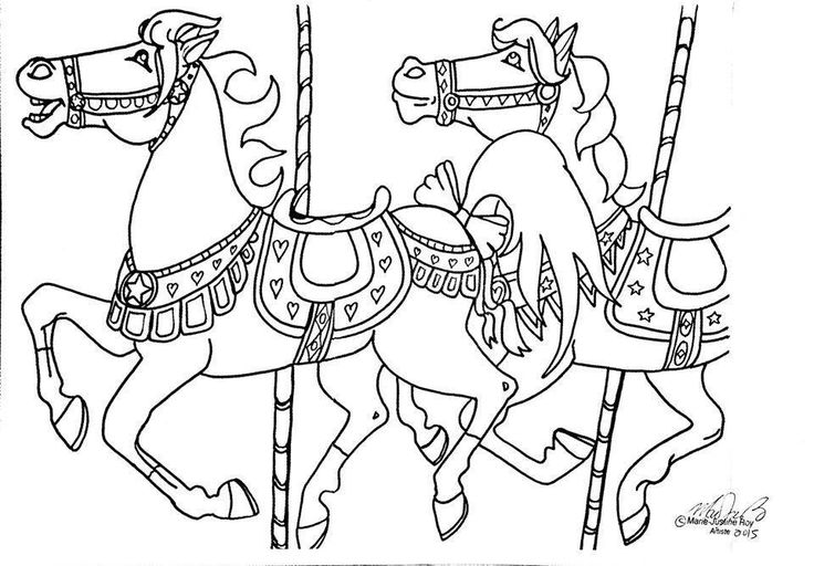 Merry go round line art sketch coloring page for Merry go round horse template