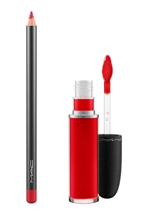 """MAC Lip Pencil in """"Cherry"""" and MAC Retro Matte Liquid Lip Color in """"Feel So Grand"""""""