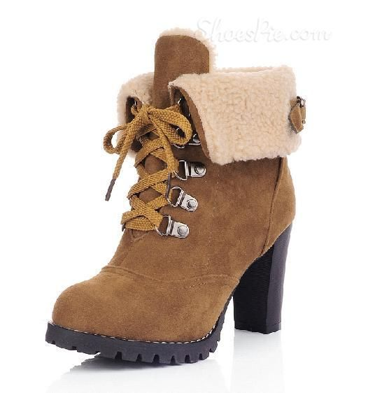 """2014 New Arrival Chunky Heels All-Matching Ankle Boots.  The High School """"stoner"""" in me loved """"hiking"""" boots.  This is the grown up Girlie-Girl version! LOVE IT!!!"""