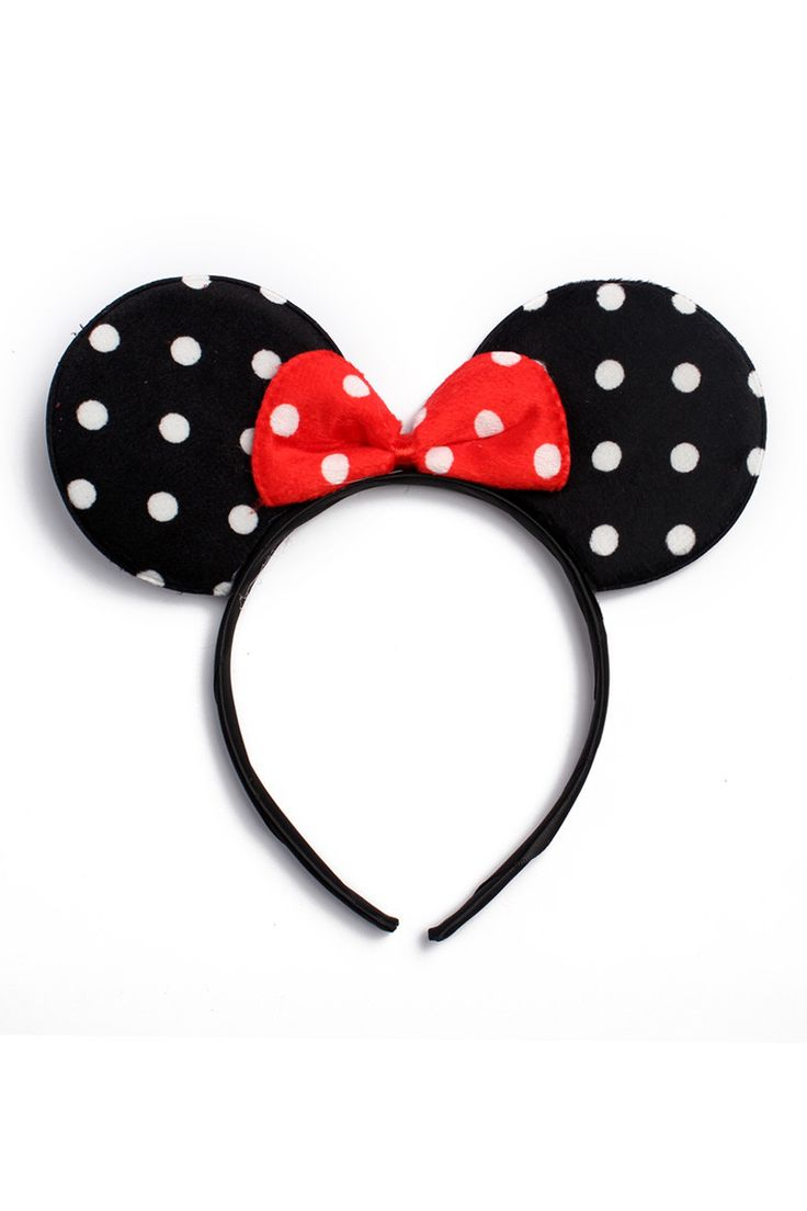 A headband featuring dotted print mouse ears. Colors: - Black, Hot Pink, Light Pink, Red Size: - One Size