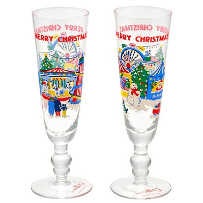 Set of 2 Christmas Champagne Glasses