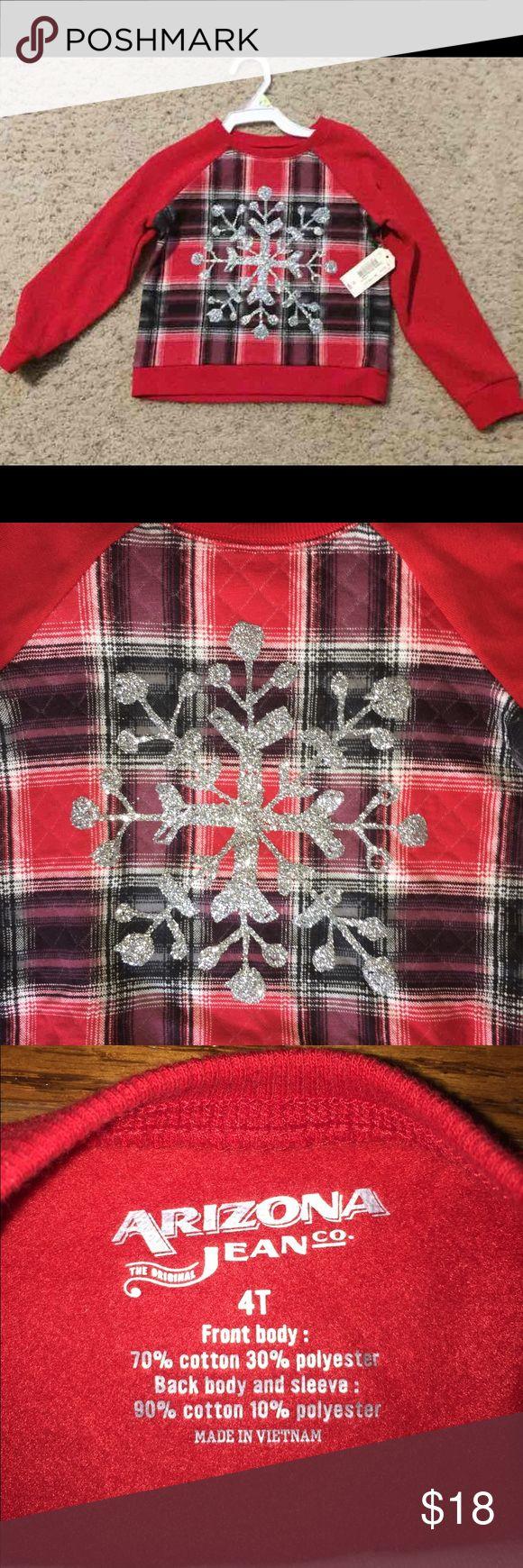 NWT - Snowflake sweatshirt - Size 4T NWT Arizona Jeans snowflake sweatshirt size 4T. Reg. $22  Non smoking home and no pets. Arizona Jean Company Shirts & Tops Sweatshirts & Hoodies