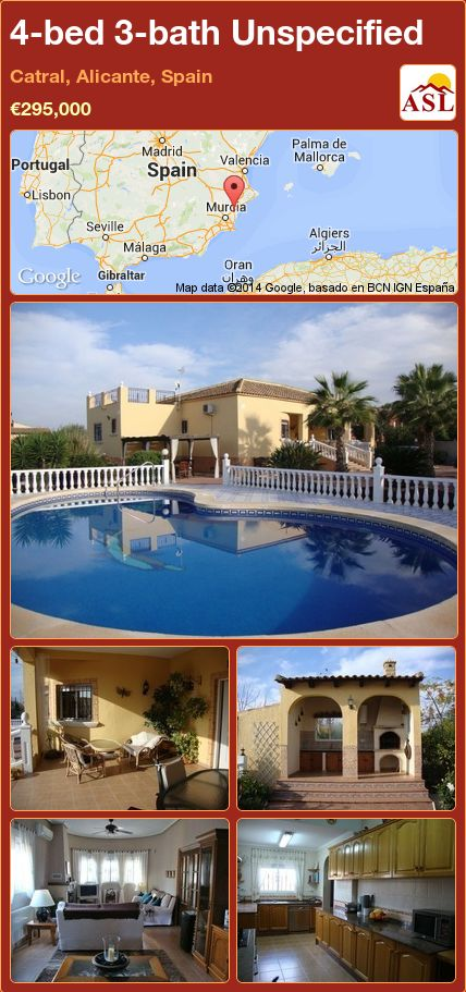 4-bed 3-bath Unspecified in Catral, Alicante, Spain ►€295,000 #PropertyForSaleInSpain
