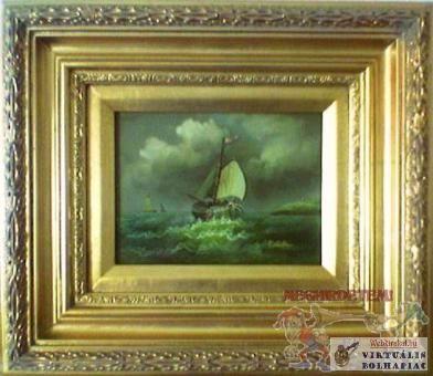 Vitorlás halászhajók. Porcelán lapra festett kép