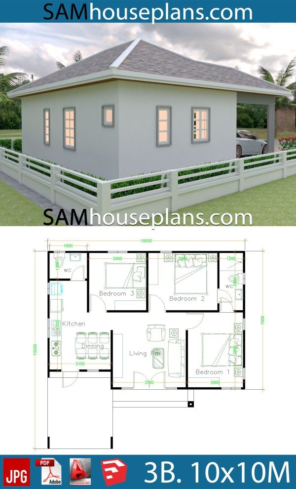 10x10 Bedroom Plans: House Plans 10x10 With 3 Bedrooms