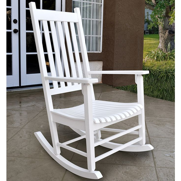 Shine Co. Vermont Porch Rocker In White Painted Hardwood