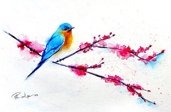 Original Watercolor Painting  Bluebird Painting  Bird by ARealpe, $200.00