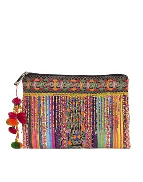 ASOS Clutch Bag With Weave And Embellished Fringing