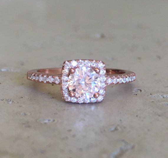 Small Rose Gold Promise Ring Rose Gold Ring Cubic by Belesas