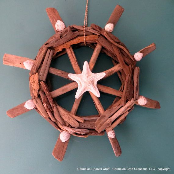 Drift wood Beach Decor Ship wheel with by CarmelasCoastalCraft