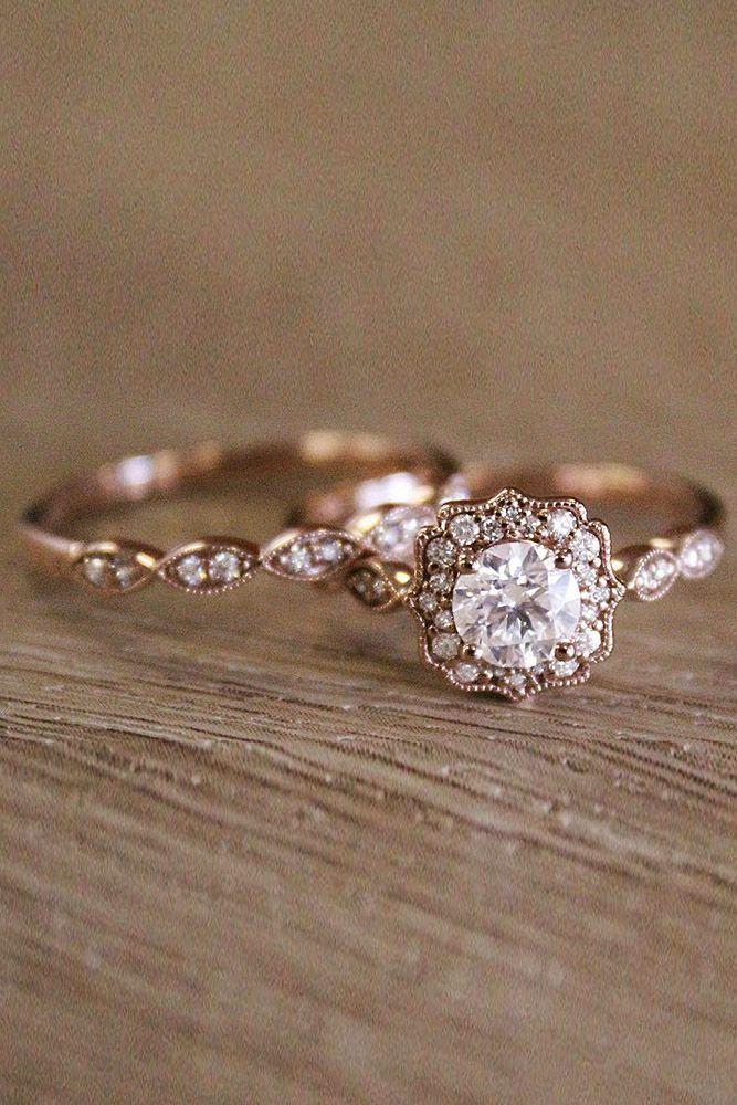 24 Vintage Rose Gold Engagement Ring