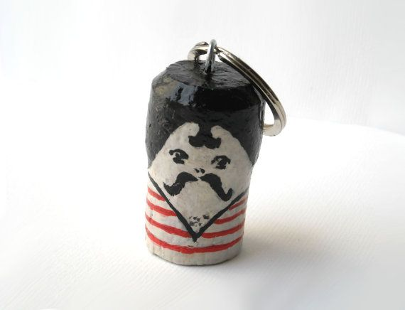 Keychain circus strong man, mustache man, miniature doll, cute keyring, hand painted recycled cork  http://etsy.me/2mlPWRw