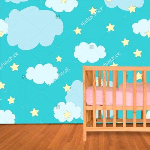 Fotobehang Wolken en sterren | Maak het jezelf eenvoudig en bestel fotobehang voorzien van een lijmlaag bij YouPri om zo gemakkelijk jouw woonruimte een nieuwe stijl te geven. Voor het behangen heb je alleen water nodig!   #behang #fotobehang #print #opdruk #afbeelding #diy #behangen #kinderkamer #babykamer #wolkjes #wolken #lucht #illustratie