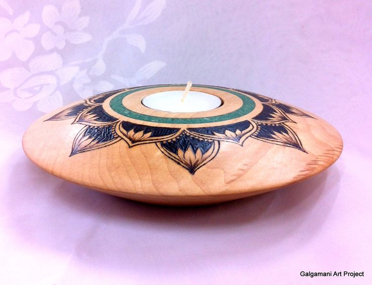 Maple candle holder with crisocola stone inlay and for Billige dekoartikel