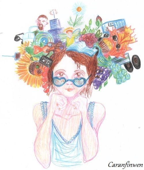 crazy all the time - by Caranfinwen #hat #flowers #red #girl #head #glasses #crayons