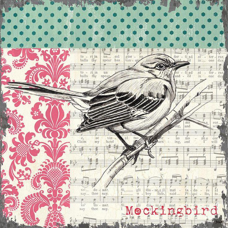 Vintage Songbird 4 Painting  - Vintage Songbird 4 Fine Art Print