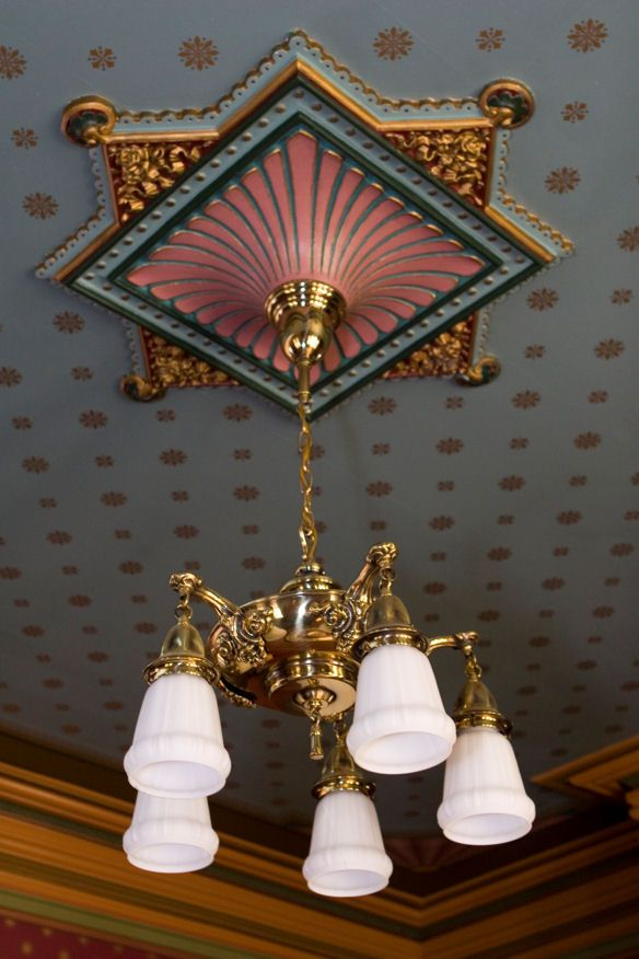 Gorgeous parlor ceiling medallion! Note the complex treatment of the crown molding.