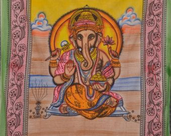 Indian Lord Ganesha Wall hanging Tapestry curtain Lord Ganesha Poster handmade bed cover table cover Bed spread Batik Ganesh