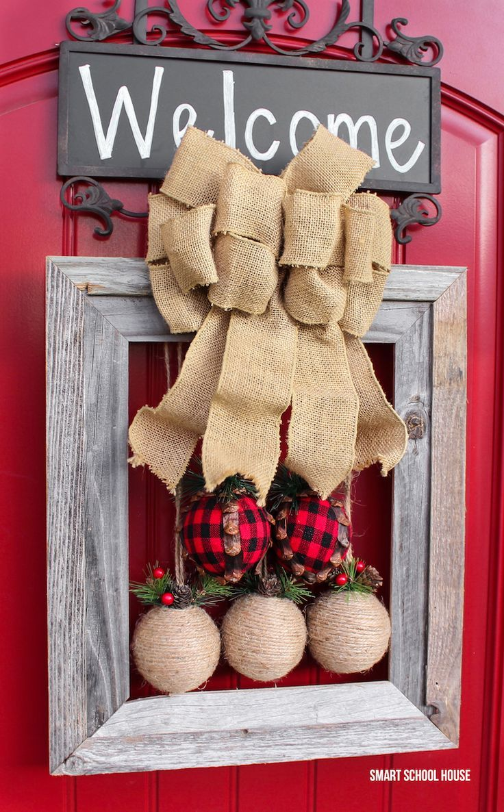 Picture Frame Christmas Wreath - How to make a DIY rustic picture frame Christmas wreath idea for the holidays. Picture frame wreath tutorial.
