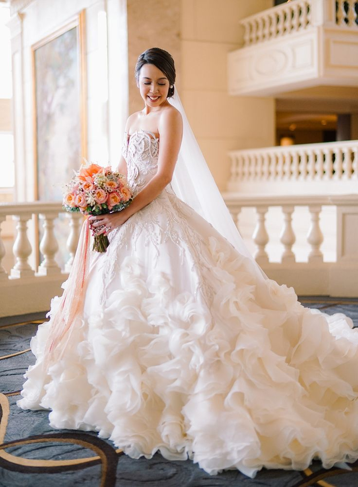Great Couture wedding gown with ruffles Maciel and Bianca us Coral Infused Affair With a