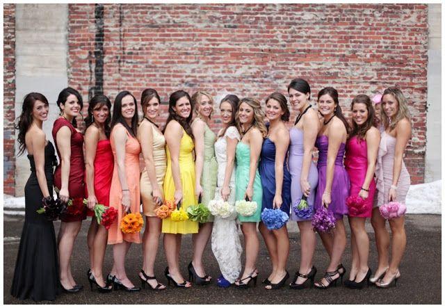 #bridesmaids #bridesmaidsdresses #mismatchedbridesmaidsdresses #Rainbowweddingtheme