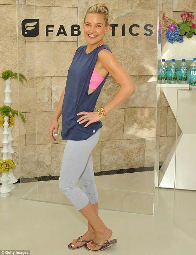 Subtle product placement: Kate Hudson flaunted her toned figure at the launch of her Fabletics spring collection in Los Angeles on Thursday
