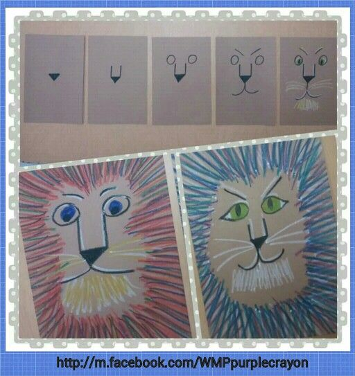 LeRoy Neiman inspired lions. Step by step instructions. After they drew the lions face I had them choose 3 diff colors and make tne hair/ lion's mane. This was done with crayons. My 2nd and 3rd graders loved this art project! http://m.facebook.com/WMPpurplecrayon