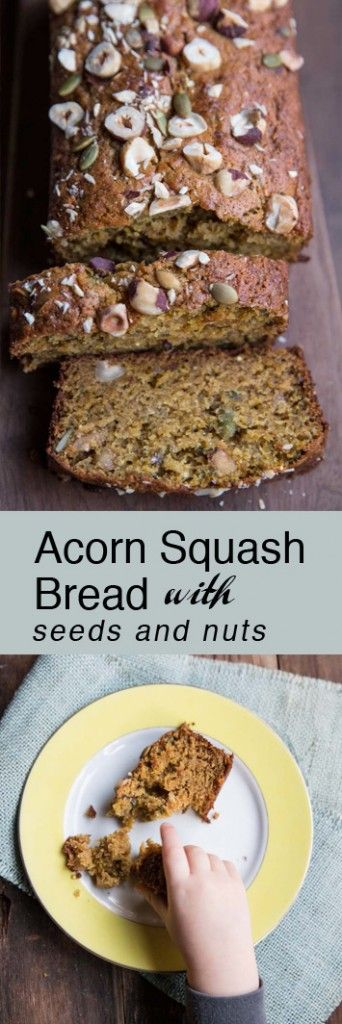 Acorn Squash Bread with Seeds and Nuts • theVintageMixer.com #breadrecipe #acornsquash #squashbread