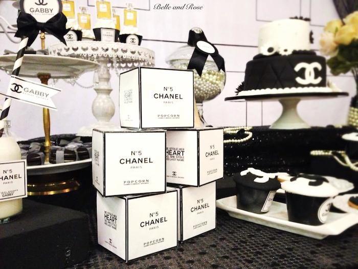 Chanel inspired bridal shower via Kara's Party Ideas KarasPartyIdeas.com Cake, decor, printables, cupcakes, favors, and more! #chanel #cocochanel #chanelparty #chanelpartyideas (5)