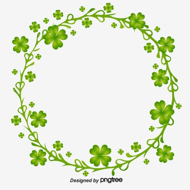 Saint Patricks Day Round Clover Border Traditional Festival Clover Circular Png And Vector With Transparent Background For Free Download Clover Purple Flower Background St Patricks Day