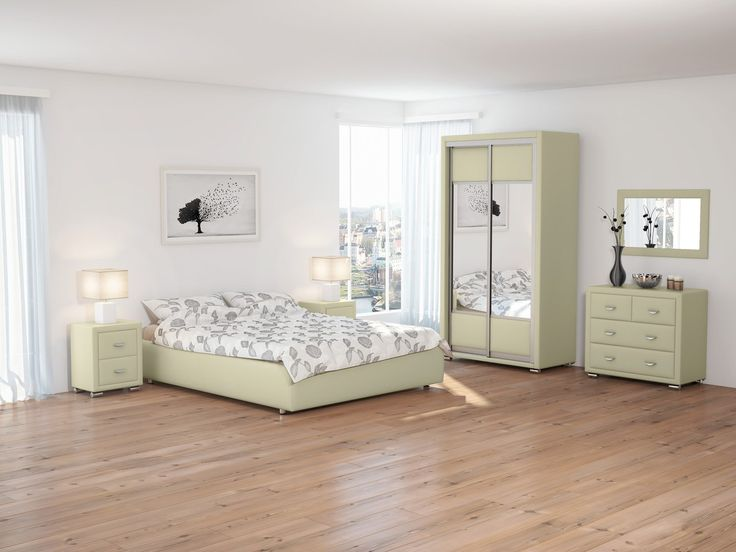 Наша светлая спальня оформлена в строгой прямоугольной геометрии, при этом интерьер смотрится изящно. Элегантная кровать без изголовья  подчеркивает легкость спальни. Необычные прикроватные светильники завершают ее образ. Зеркала и светлые тона мебели и отделки визуально расширяют пространство.  На фото: кровать Como1 Base, комод, прикроватные тумбы, двухдверный шкаф-купе, зеркало — из серии OrmaSoft 2, обивка мебели выполнена из экокожи бежевого цвета…