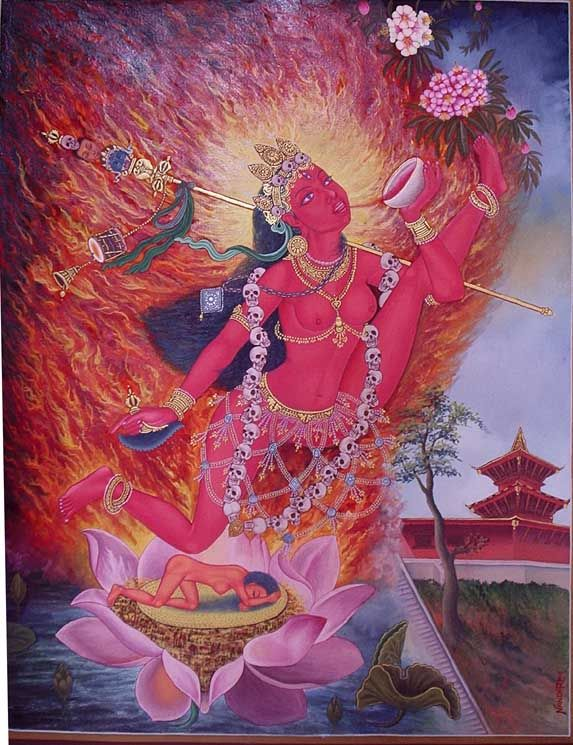 Vajrayogini or Vajravarahi (Tibetan: Dorje Naljorma, English: the Vajra yogini; also Tibetan: Dorje Phagmo, Wylie: rdo-rje phag-mo, English: the Vajra Sow) is a dakini, a tantric Buddhist ishta-deva (Tib. yidam). Her sadhana (practice) originated in India between the 10th and 12th century, having evolved out of the Chakrasamvara sadhana to become a stand-alone practice in its own right.[1] She is often associated with triumph over ignorance.