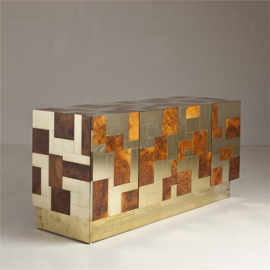 A Paul Evans Designed Brass and Burl Cityscape Collection Cabinet #bocadolobo #luxurydesign #luxuryfurniture home decor ideas, home furniture, luxury furniture, high end furniture, design ideas, interior design ideas. For more inspirations: www.bocadolobo.com