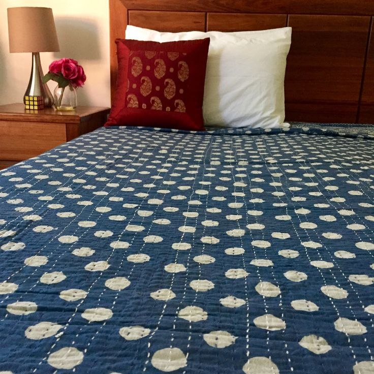 White Polka Dot Kantha Quilt / Bedspread | The Hues of India