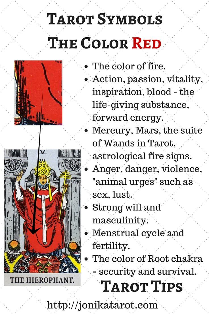 #Tarot #Tips, The color RED in Tarot. Check out my blog | Sign up for my newsletter http://jonikatarot.com/